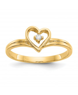14k Polished .03ct. Diamond Heart Ring Mounting
