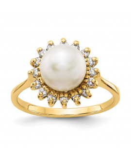 14k 7.5mm Pearl & Diamond Ring Mounting