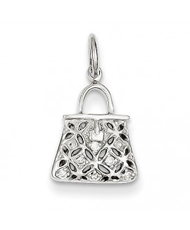 14k White Gold Diamond Purse Charm