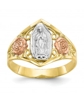 10k Two-tone & Rhodium Our Lady of Guadalupe Ring
