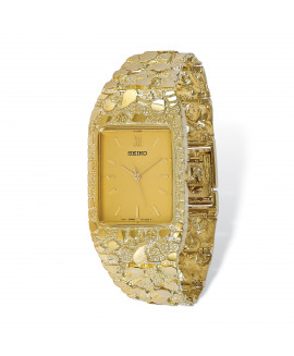 10k Yellow Dial Square Face Nugget Watch