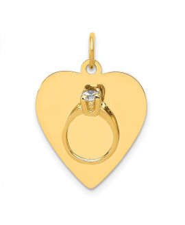 14k Ring on a Heart Charm