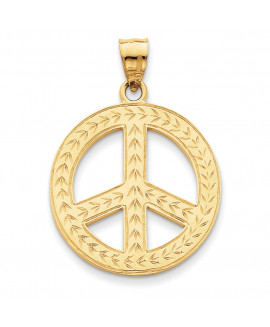 14k Solid Polished Peace Sign Pendant