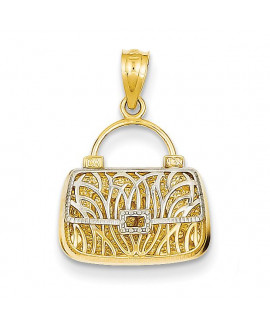 14k & Rhodium Reversible Mom Handbag Pendant