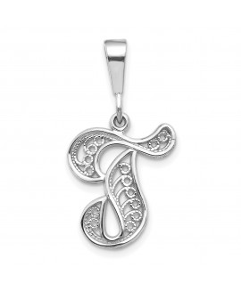 14k White Gold Solid Polished Filigree Initial T Pendant