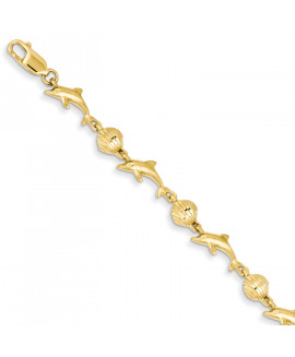 14K Dolphin and Shell Bracelet