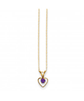14k Madi K 3mm Amethyst Heart Birthstone Necklace