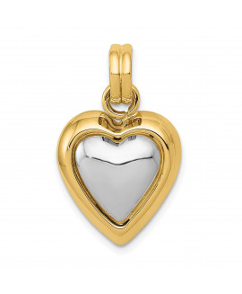 14k & Rhodium Hollow Flat-Backed Puffed Heart Pendant