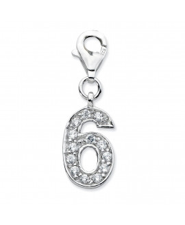 Sterling Silver CZ Numeral 6 w/Lobster Clasp Charm
