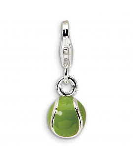 Sterling Silver 3-D Enameled Tennis Ball w/Lobster Clasp Charm