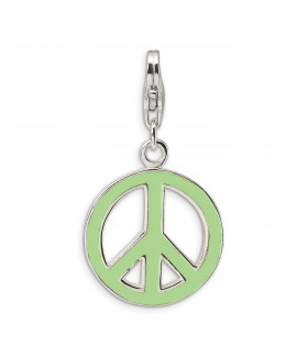 Sterling Silver Green Enameled Peace Symbol w/Lobster Clasp Charm