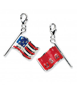 Sterling Silver 3-D Enameled American Flag w/Lobster Clasp Charm