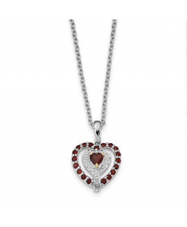 Sterling Silver & 14K Garnet & Diamond Necklace
