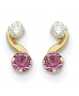 14k Madi K Synthetic Pink Tourmaline (Oct) Post Earrings