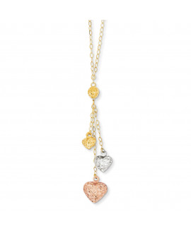 14k Tri-color Puff Heart Lariat with 2in ext Necklace