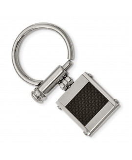 Stainless Steel Brushed and Polished Black Carbon Fiber Inlay Key Ring