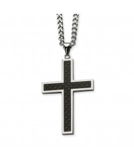 Stainless Steel Polished w/Black Carbon Fiber Cross 24in Necklace