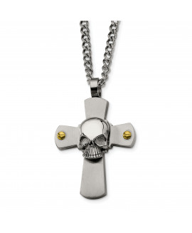 Stainless Steel Yellow IP-plated Skull on Cross 24in Necklace
