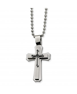 Stainless Steel Black IP-plated Cross Necklace