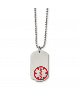 Stainless Steel Small Dog Tag Medical Pendant 23.25in Necklace