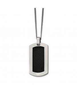 Titanium Polished w/Black Carbon Fiber Inlay 24in Necklace