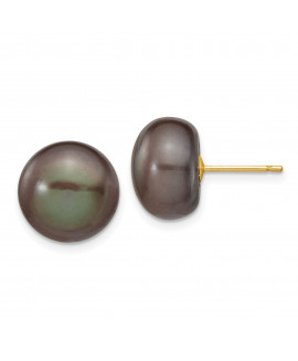 14k 11-12mm Black Button FW Cultured Pearl Stud Earrings