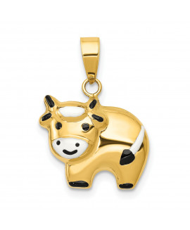 14k Enameled Cow Charm
