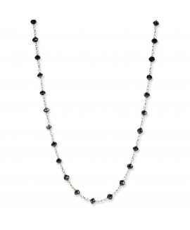 14k White Gold Black Diamond Briolette Necklace