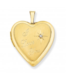 14K 20mm I Love You w/ Diamond Heart Locket