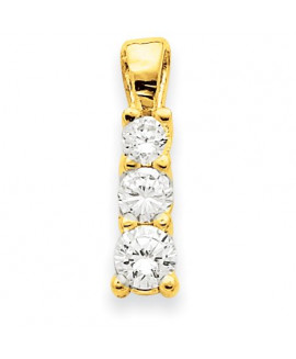 14k 3-Stone .79ct Diamond Pendant Mounting