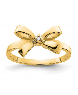 14k Polished .02ct. Diamond Bow Ring Mounting