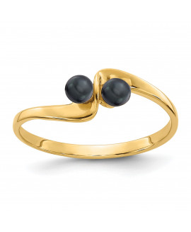 14k 3mm Black FW Cultured Pearl ring