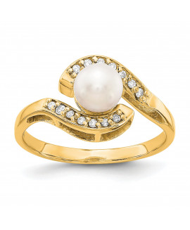 14k 5.5mm Pearl & Diamond Ring Mounting