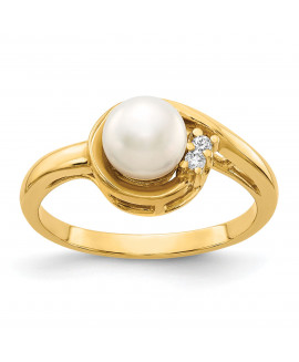 14k 6mm Pearl & Diamond Ring Mounting