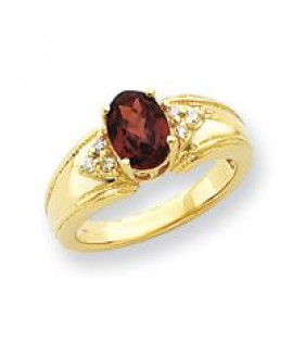 14k 8x6mm Gemstone & .10ct. Diamond Ring Mounting