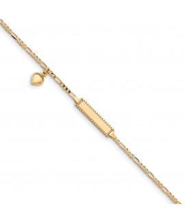 14k 6in Engraveable Figaro Link w/Dangling Heart Baby/Child ID