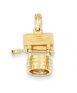 14k Polished 3-Dimensional Moveable Wishing Well Charm