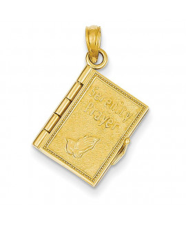 14K 3-D Moveable Pages Serenity Prayer Book Pendant