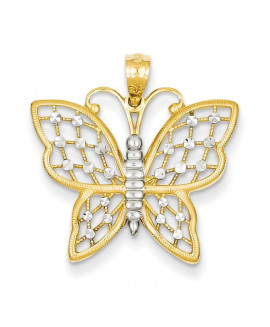 14k and Rhodium D/C Butterfly Pendant