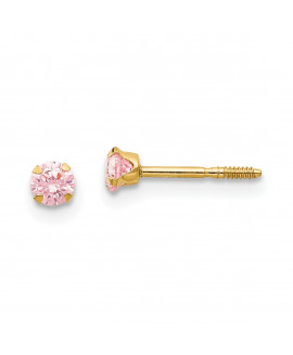 14k Madi K 3mm Pink CZ Earrings