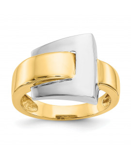 14k Two-tone Polished Buckle Ring