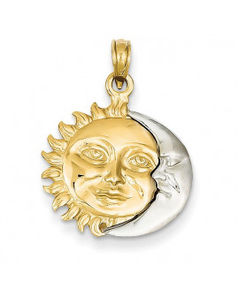 14k Two-Tone Solid Polished 3-Dimensional Sun & Moon Pendant