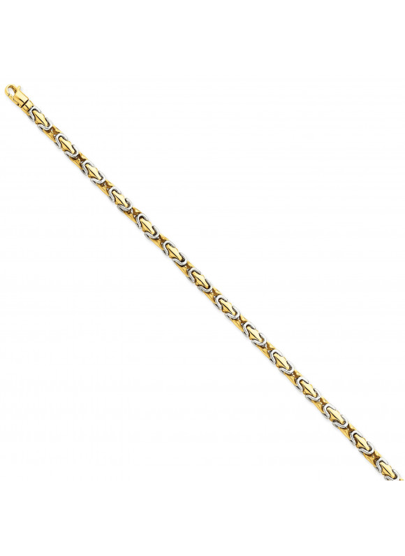14k Two-tone 4.1mm Polished Fancy Link Chain