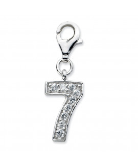Sterling Silver CZ Numeral 7 w/Lobster Clasp Charm