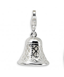 Sterling Silver Polished Movable Bell w/Lobster Clasp Charm