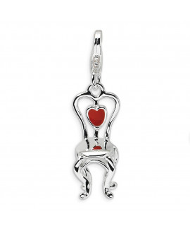 Sterling Silver 3-D Enameled Chair with Heart w/Lobster Clasp Charm