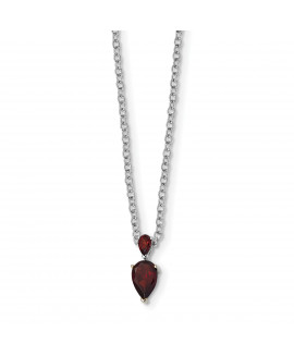 Sterling Silver & 14K Garnet Necklace