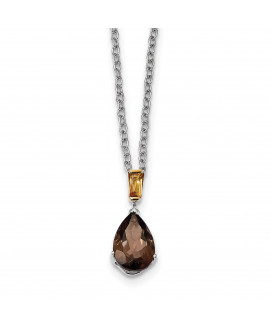 Sterling Silver & 14K Smoky Quartz and Citrine Necklace