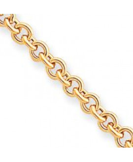 14k 7.5in 5mm Polished Fancy Rolo Link Bracelet