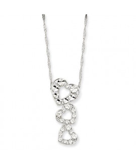 14k White Gold 17in Diamond-cut Polished 3-Heart Pendant Necklace